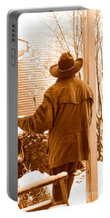 Waiting For The Storm - Sepia Portable Battery Charger