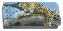 Portable Battery Charger featuring the painting Waiting Game by Mike Brown