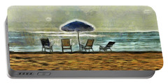 Portable Battery Charger featuring the mixed media Waiting On High Tide by Trish Tritz