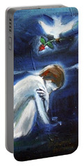 Portable Battery Charger featuring the painting Waiting by Winsome Gunning