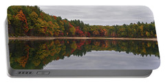 Walden Pond Fall Foliage Concord Ma Reflection Trees Portable Battery Charger