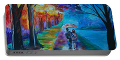 Portable Battery Charger featuring the painting Walk By The Lake  by Leslie Allen
