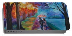 Portable Battery Charger featuring the painting Walk By The Lake Series 1 by Leslie Allen