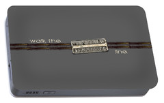 Portable Battery Charger featuring the photograph Walk The Line Light Lettering by Heather Applegate