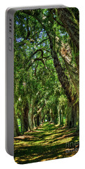 Portable Battery Charger featuring the photograph Walk With Me Avenue Of Oaks St Simons Island Art by Reid Callaway