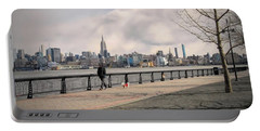 Walking Along Hoboken's Hudson River Waterfront Walkway Portable Battery Charger