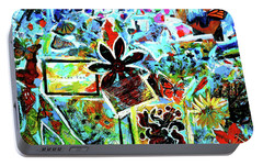 Portable Battery Charger featuring the mixed media Walking Amongst The Monarchs by Genevieve Esson