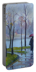 Portable Battery Charger featuring the painting Walking In The Rain by Elena Oleniuc