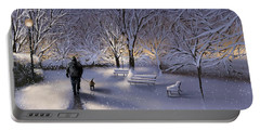 Portable Battery Charger featuring the painting Walking In The Snow by Veronica Minozzi