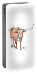 Walking Tall Texas Longhorn Watercolor And Ink By Kmcelwaine Portable Battery Charger by Kathleen McElwaine