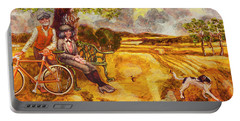 Walking The Dog After Gainsborough Portable Battery Charger by Mark Jones