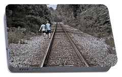 Portable Battery Charger featuring the photograph Walking The Tracks by Suzanne Stout