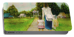 Portable Battery Charger featuring the drawing Walking To The Shrine by Tim Ernst