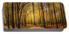 Walkway In The Autumn Woods Portable Battery Charger