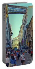 Portable Battery Charger featuring the photograph Walkway Over The Street - Lisbon by Mary Machare