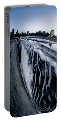 Wall Of Ice And Chicago Skyline At Dusk  Portable Battery Charger