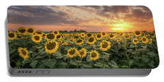 Wall Of Sunflowers Portable Battery Charger