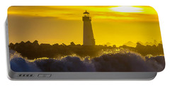 Walton Lighthouse At Sunset Portable Battery Charger