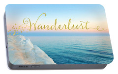 Wanderlust, Santorini Greece Ocean Coastal Sentiment Art Portable Battery Charger by Tina Lavoie