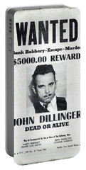 Wanted John Dillinger 1934 Portable Battery Charger by Daniel Hagerman