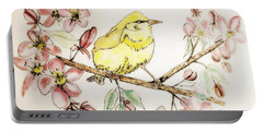 Warbler In Apple Blossoms Portable Battery Charger by Maria Urso