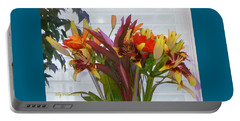 Portable Battery Charger featuring the photograph Warm Colored Flowers by Elly Potamianos