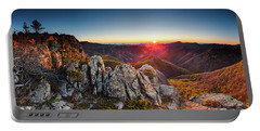 Warm Sunlight At Sunrise In The Mountain Portable Battery Charger