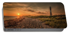 Warm Sunrise At The Fire Island Lighthouse Portable Battery Charger