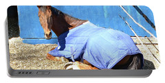 Warm Winter Day At The Horse Barn Portable Battery Charger