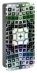 Portable Battery Charger featuring the digital art Warped Chrome Compass by Shawna Rowe
