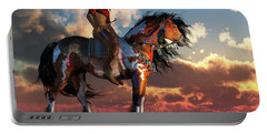 Warrior And War Horse Portable Battery Charger by Daniel Eskridge