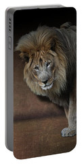 Portable Battery Charger featuring the photograph Was That My Cue? - Lion On Stage by Debi Dalio