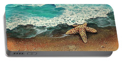 Portable Battery Charger featuring the painting Washed A Shore by Darice Machel McGuire