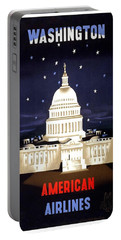 Washington, American Airlines - Retro Travel Poster - Vintage Poster Portable Battery Charger