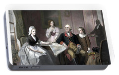 Washington And His Family Portable Battery Charger by War Is Hell Store