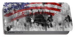Portable Battery Charger featuring the painting Washington Dc Building 01a by Gull G