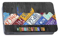 Washington Dc Skyline Recycled Vintage License Plate Art Portable Battery Charger by Design Turnpike