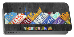 Washington Dc Skyline Recycled Vintage License Plate Art Portable Battery Charger