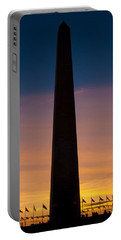 Washington Monument At Sunset Portable Battery Charger