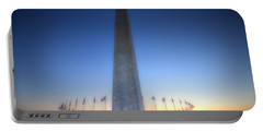 Portable Battery Charger featuring the photograph Washington Monument At Sunset by Shelley Neff