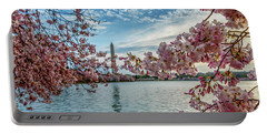 Washington Monument Through Cherry Blossoms Portable Battery Charger