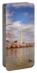 Washington Monument With Cherry Blossom Portable Battery Charger