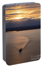 Washington State Ferry Sunset Portable Battery Charger by Mike Reid