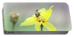 Portable Battery Charger featuring the photograph Wasp On Coreopsis by Trina Ansel