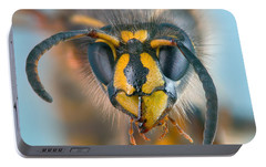 Portable Battery Charger featuring the photograph Wasp Portrait by Alexey Kljatov