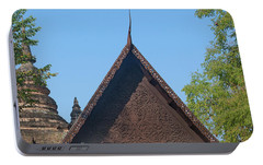 Portable Battery Charger featuring the photograph Wat Jed Yod Phra Ubosot Teakwood Gable Dthcm0968 by Gerry Gantt