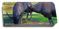 Watching 2 Water Buffalos 1 Water Buffalo Watching Me Portable Battery Charger