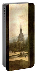 Watching Antonelliana Tower From The Window Portable Battery Charger