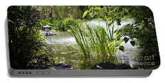 Water Garden Portable Battery Charger by Rebecca Davis