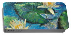 Portable Battery Charger featuring the painting Water Lilies by Ana Maria Edulescu